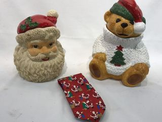 Santa Cookie Jar and Christmas Bear Cookie Jar
