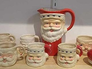 Vintage Santa Pitcher   8 Mugs