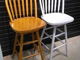 2  Wood Swivel Bar Stools