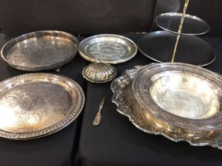Assorted Silver Plate Trays  2 Tiered Stainless