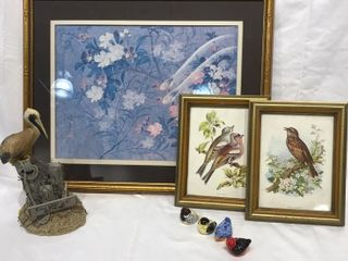 Framed Bird Pictures  Pelican Figurine