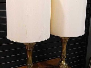 2  Matching Brass Table lamps  36H