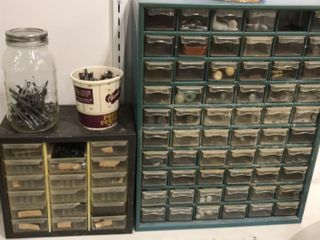 2 Shop Organizers with Nuts  Bolts  Nails and Misc