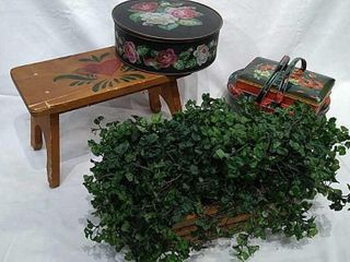 Metal Tins With Floral Design  Wood Step Stool