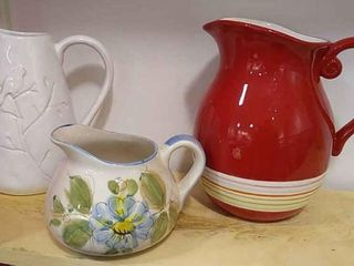 3  Ceramic Pitchers