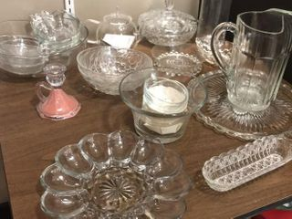 Assortment of Clear Glassware