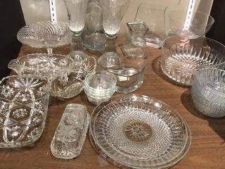 Assorted Clear Glassware