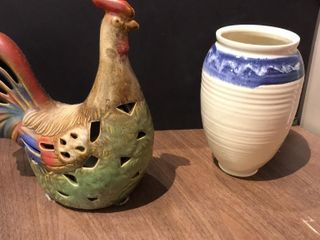 Colorful Rooster and Vase