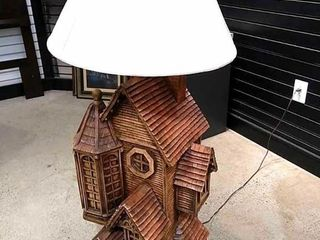 Apsit Bros of Calif  log Cabin Ceramic Floor lamp