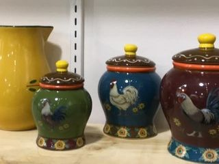 Rooster Small Canister Set  Pitcher
