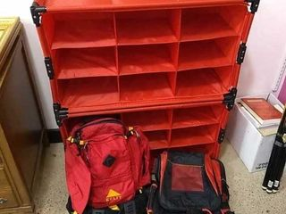 2  Backpacks    Stacking Collapsible Shoe Racks