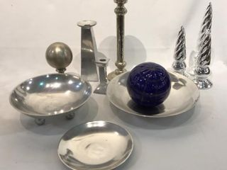 Silver Candlesticks  Bowls  blue Glass Ball