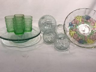 Heavy Glass Pedestal Cake Plate  Glass Balls