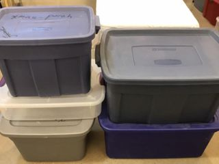 5  Plastic Storage Totes  Different Sizes