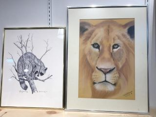 2  Framed Animal Prints