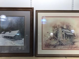 2  Framed Signed log Cabin Prints