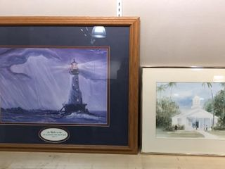 2  Framed Paintings  lighthouse   Church