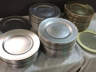large Collection of Gold   Silver Color Chargers