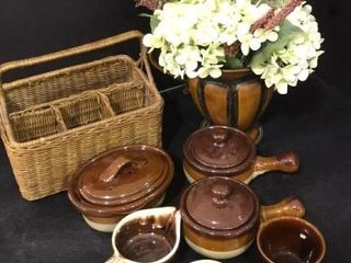 Brown Stone Ware Pottery   Decor