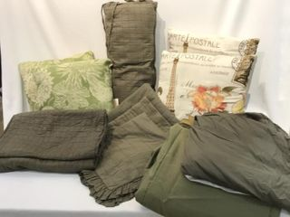 Selection of Gray   Green Bedding  Pillows