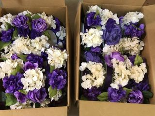 12  Purple   White Artificial Flower Centerpieces