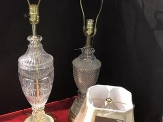 2  Clear Glass lamps   Shade
