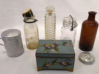 Variety of Bottles  Jars    Jewelry Box