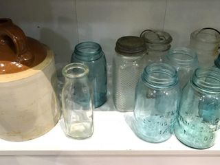 Canning Jars  Crock Jug  Cream Bottle