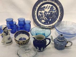 Variety of Blue Glassware