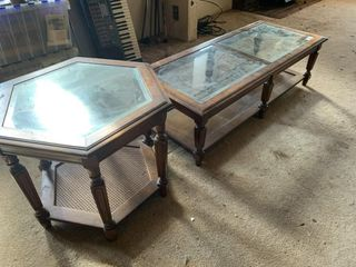 Wood and Glass End Table and Coffee Table