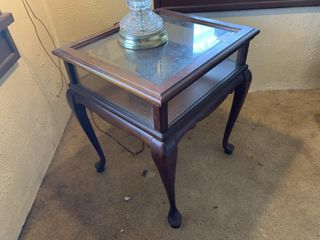 Wood and Glass Side Table and lamp