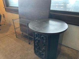 Card Table  End Table and Metal Rack