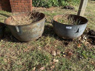 2   Cast Iron Cauldron Pots