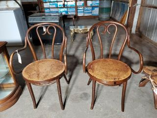 2 Vintage Cane Seat Armchairs