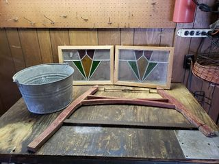 Bow Saw   Stained Glass   Galvanized Pail