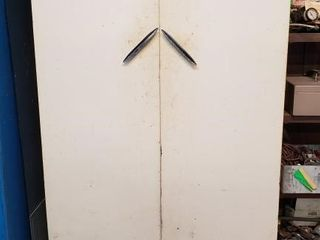 White Vintage Metal Cabinet with Contents