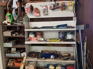 2 Garage Shelves   All Contents Included