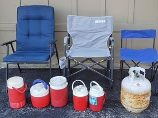 Propane Tank   Camp Chairs   Drink Coolers