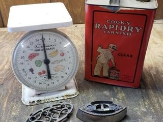 Vintage Items   Scale  Iron  Can