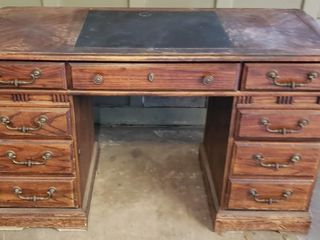 Knee Hole Executive Desk with Contents