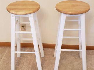 Pair of Wood Bar Stools   12 5 in  diameter seat   30 in  tall