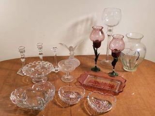 GlassWare   Candle Sticks  Vases  Bowls and Platter