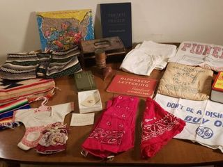 Flour Sack Decor  Bandana  loom Woven Items  Wood Top  Kennedy Book  Map Puzzle  and 1940 Political Button