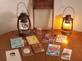 Glass Washboard  No  2 Air Pilot lantern w  Christmas lights  Electrified lantern  Vintage Cookbooks and Pamphlets