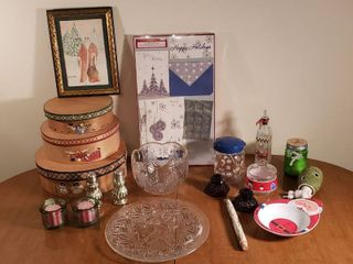 Christmas Decor   Cards  Wood Boxes  Glassware  Candle Holders  and others