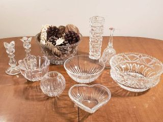 Clear Crystal Dishes  Candle Sticks  Vases and Bell
