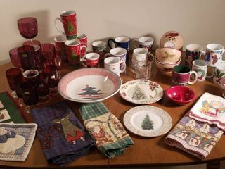 Christmas Mugs  Cups  Goblets  Glasses  Bowls  Plates and linens   Rubbermaid Tote Included