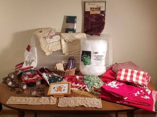 Christmas linens  Candle Wall Decor  Dollies  and Snow Blanket   Under the Bed Tote included