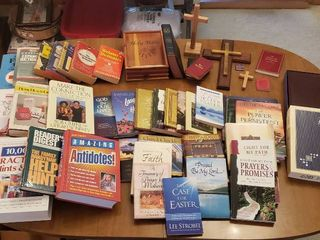 Religious Books  Bibles  Wood Crosses and Reference Books