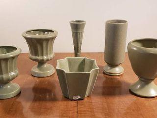 Haeger   Floraline Green Ceramic Vases